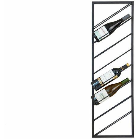 LIFA LIVING Moderner Weinflaschenhalter für die Wand , Schwarzes Weinregal aus Metall , Weinhalter für 8 Flaschen , maximale Belastbarkeit 10 kg