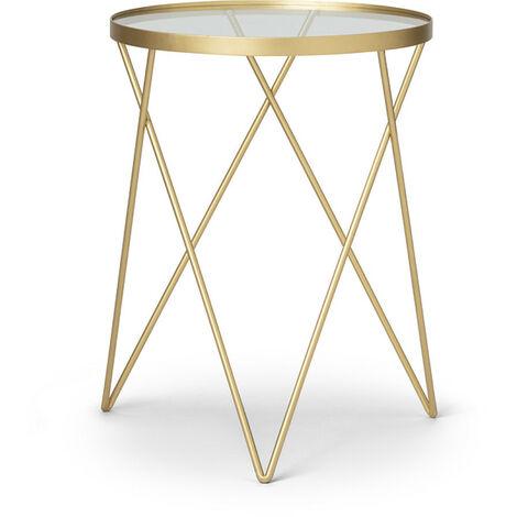LIFA LIVING runder Beistelltisch Metall Glas, goldener Couchtisch, Glastisch, Deko Tisch in Vintage Stil, Klassisch, Minimalist Design, Belastbarkeit 20 kg