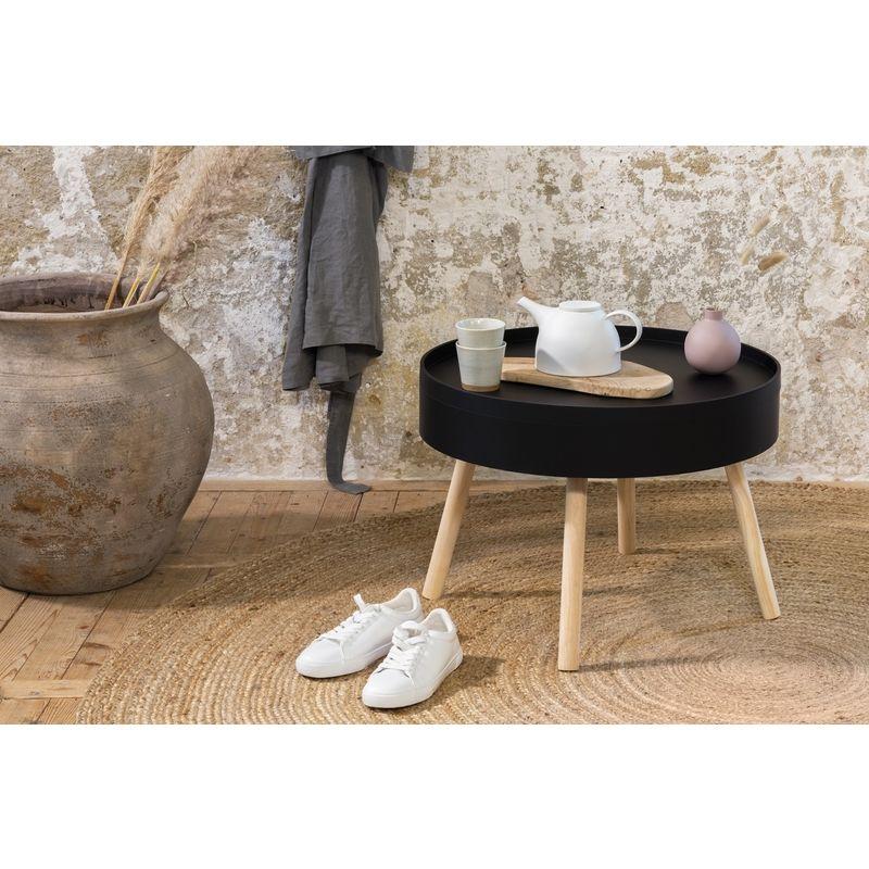 LIFA LIVING Runder Couchtisch mit Stauraum aus MDF Holz , Beistelltisch mit abnehmbaren Deckel für Wohnzimmer und Schlafzimmer , 60 x 60 x 44 cm