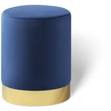 LIFA LIVING Runder Samt Pouf für den Innenbereich , Zylinderförmiger Samt Hocker mit goldenem Detail , Sitzhocker Fußhocker Beistelltisch , in 6 verschiedenen Farben aus Samt & Metall