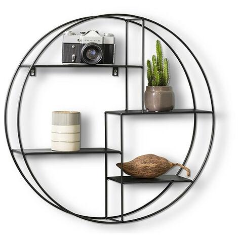 LIFA LIVING Rundes Wandregal modern aus schwarzem Metall und Holz oder Metall, Gewürzregal im Industrie Design, Küchenregal mit 4 Böden, Wanddeko Ø 55 cm x 11 cm
