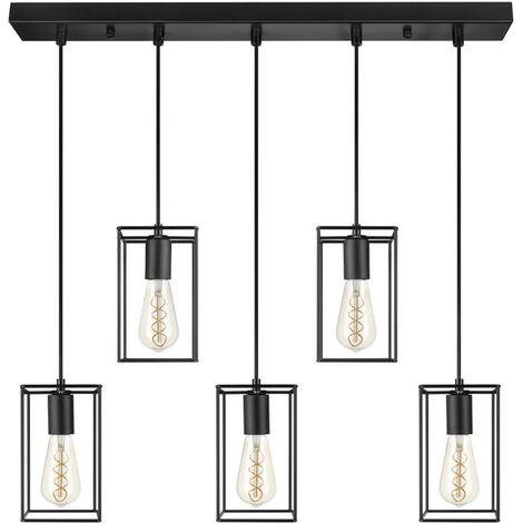 LIFA LIVING schwarze LED Hängelampe 5 flammig, E27 Hängeleuchte aus Metall Industrial Gitter, Deckenlampe für Esszimmer, Wohnzimmer Deckenleuchte