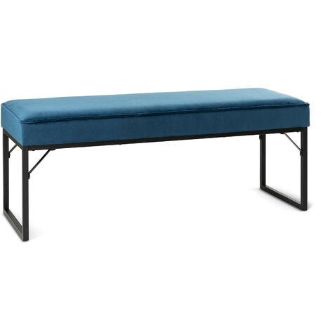 LIFA LIVING Sitzbank mit Samtbezug und Polsterung , Polsterbank für den Innenbereich , Schlafzimmer, Wohnzimmer, Flur , aus Samt, Holz & Metall , für 2 Personen
