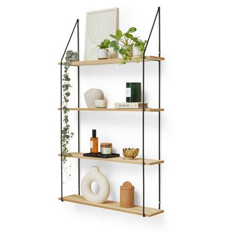 LIFA LIVING Vintage Wandregal aus Holz und Metall, dekorative Schweberegale für Küche, Wohnzimmer, Schlafzimmer