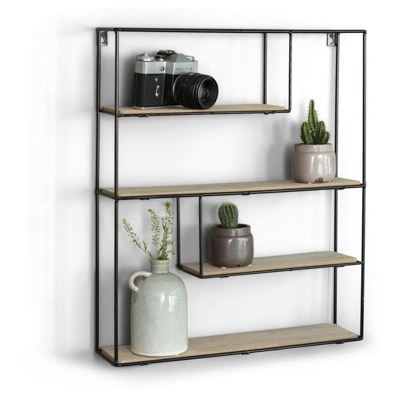 LIFA LIVING Wandregal aus Holz & schwarzem Metall mit 4 Böden, Vintage  Metallregal im Naturstil mit 4 Etagen, Wanddeko Küchenregal Gewürzregal (55  x ...