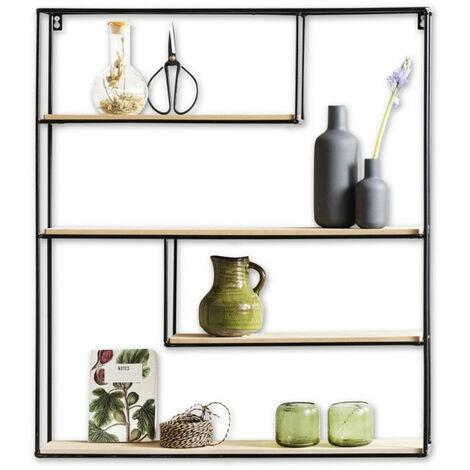 LIFA LIVING Wandregal aus Holz & schwarzem Metall mit 4 Böden, Vintage Schweberegal im Naturstil mit 4 Etagen, Hängeregal, Gewürzregal 70 x 60 x 11 cm