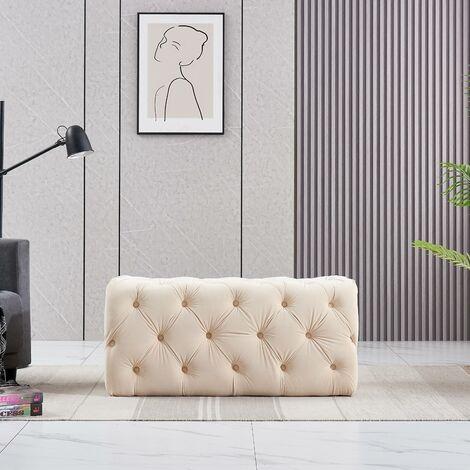 "main image of ""Life Interiors: Melia Velvet Small Rectangle Pouffe | Footrest | Retro Stool | LUX Design | Button Detailed | CREAM"""