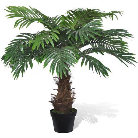 Lifelike Artificial Cycus Palm Tree with Pot 80 cm - Green
