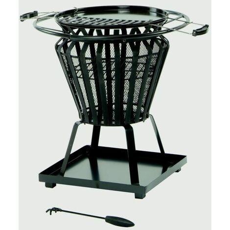 "main image of ""Lifestyle Signa Steel Basket With Fire Pit BBQ Black steel basket frame work - LFS703"""