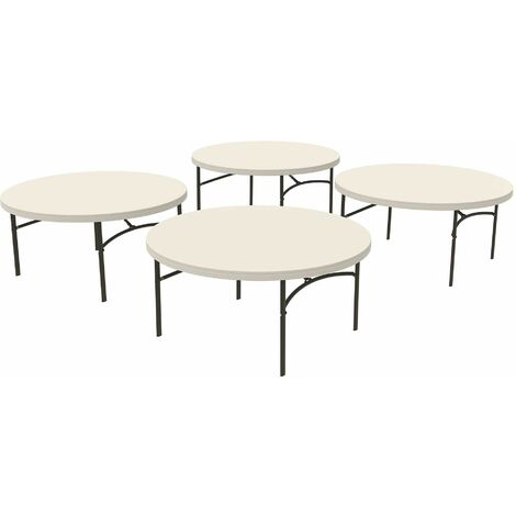 Lifetime 4 Pack 60-Inch Round Table Combo (Commercial) - Almond