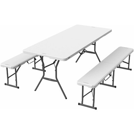 Lifetime 6-Foot Fold-In-Half Table and 2 Pack 6-Foot Fold-In-Half Bench Combo - White