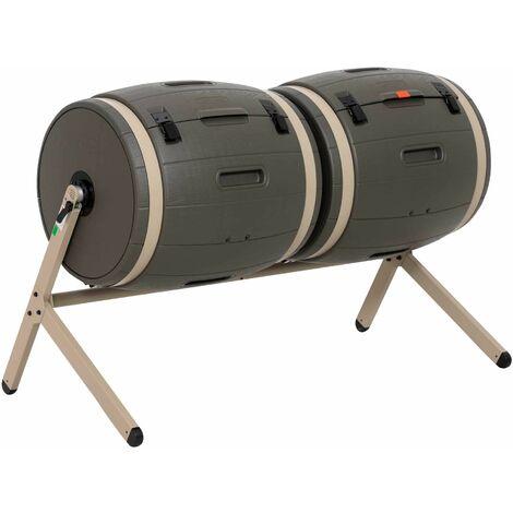 Lifetime Double Bin Rotating Composter (100 gallon) - Brown