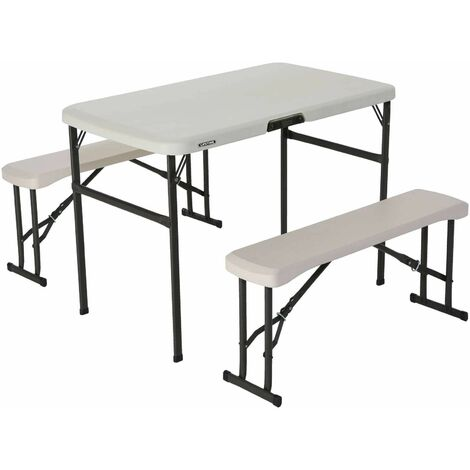 Lifetime Folding Picnic Table with Benches - Almond