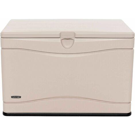 Lifetime Heavy-Duty Outdoor Storage Deck Box (80 Gallon) - Tan