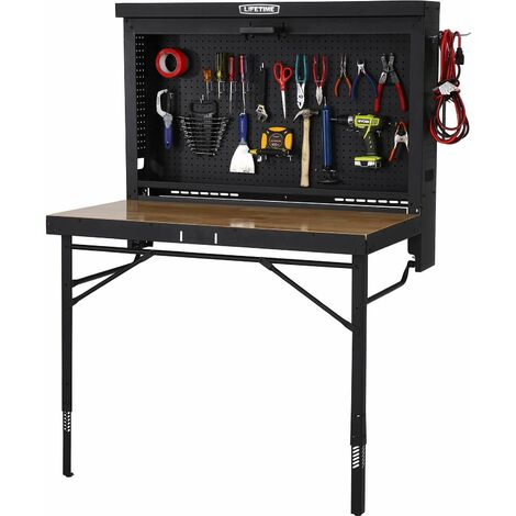 Lifetime Wall-Mounted Work Table - Black