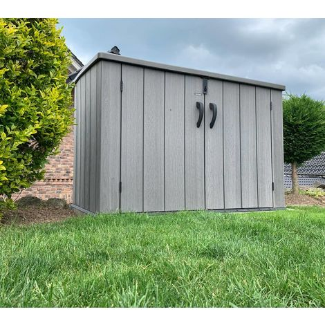 Lifetime XXL Kunststoff Mülltonnenbox, Gerätebox, Aufbewahrungsbox Dunkelgrau