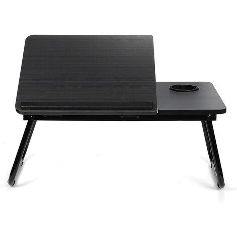 Liftable Folding Computer Desk Cup Holder Stand Portable Adjustable 55*32*25cm Black