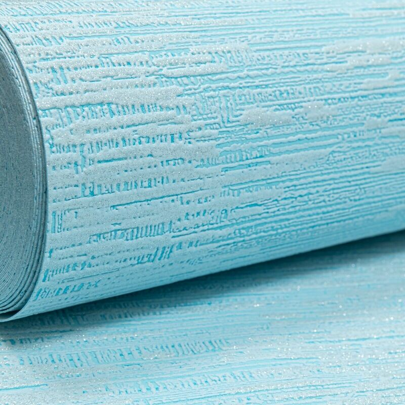 Image of Light Blue Embossed Textured Silver Glitter Thick Vinyl Paste the Wallpaper