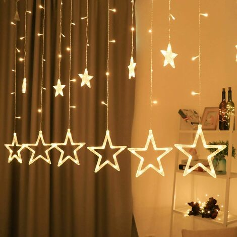 Light chain with LED ball Christmas decoration, 12 star light curtain, Christmas indoor lighting, light chains for interiors, 8 modes waterproof indoor and outdoor light chain, warm white star curtain
