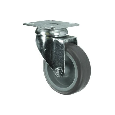 Light Duty Pressed Steel Castors - Rubber Non-marking Tyred Wheel with Nylon Centre - Plain Bearing