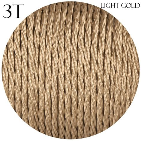 Light Gold Twisted Vintage fabric Cable Flex 0.75mm -3 Core