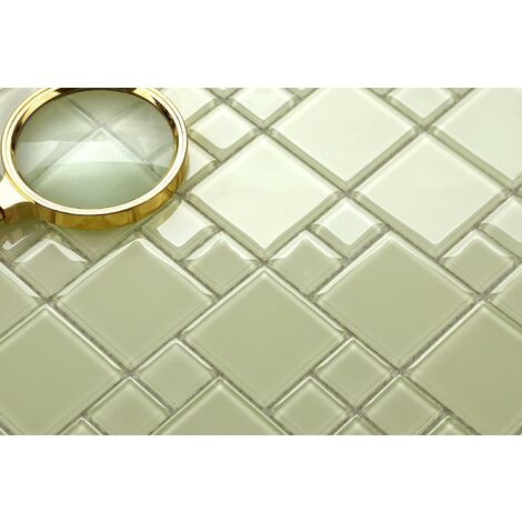 Light Green Glass Modular Mix Walls Borders Splashbacks Mosaic Tile MT0024