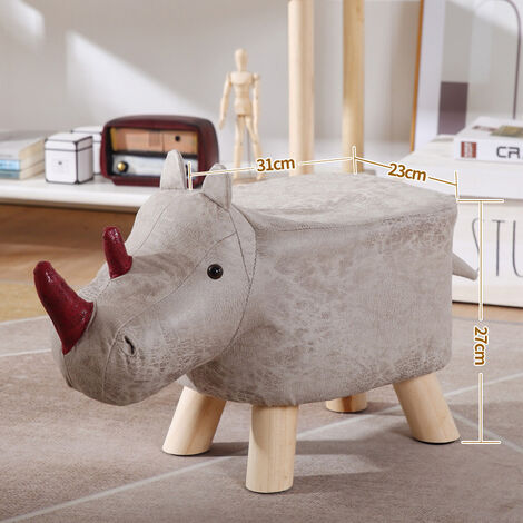 Light Grey Animal Footstools Upholstered Stool Ottoman Pouffe Seat Kids Bedroom Playroom