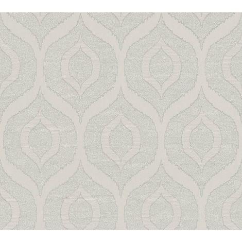 Light Grey Geometric Pattern Silver Glitter Metallic Vinyl Wallpaper Embossed