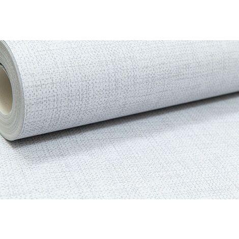 Light Grey Plain Wallpaper Woven Linen Effect Subtle Shimmer Metallic Smooth