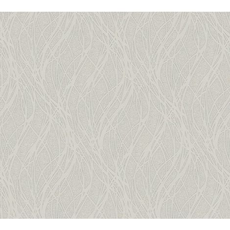 Light Grey Ribbon Stripe Wave Silver Glitter Metallic Vinyl Wallpaper Embossed