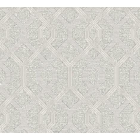 Light Grey Silver Glitter Geometric Pattern Metallic Vinyl Wallpaper Embossed