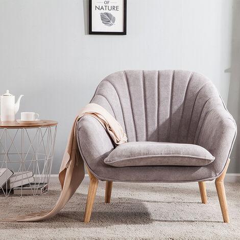 Light Grey Velvet Scallop Back Armchair Living Room Single Sofa Chair