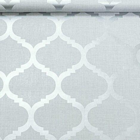 Light Grey Wallpaper Trellis Geometric Metallic Silver Feature Wall Linen Effect