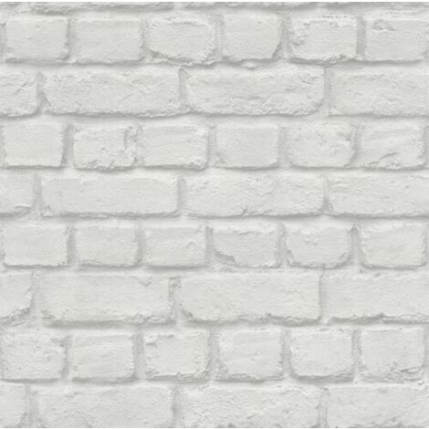 Light Grey / White - 226713 - Urban Brick Effect - Kids Club - Rasch Wallpaper