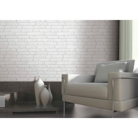 Light Grey / White - J30309 - Brick Effect - Muriva Wallpaper