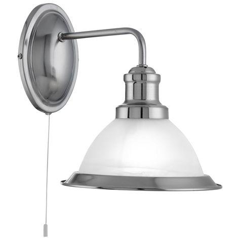 Light industrial Wall Bracket, Satin Silver, Marble Glass Shade, Satin Silver Trim