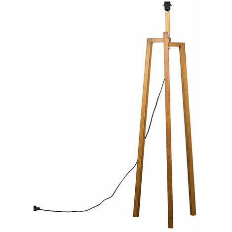 Light Natural Wooden Tripod Style Step Floor Lamp Base