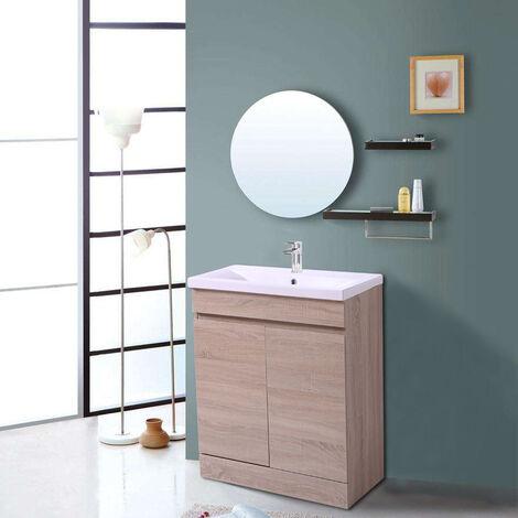 Light Oak Bathroom Vanity Sink Unit Basin Storage Cabinet Floor Standing Furniture 600mm