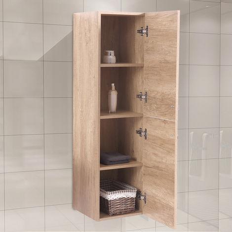 Light Oak Effect 1200mm Tall Cupboard Wall Hung Cabinet Bathroom Furniture 2 Door