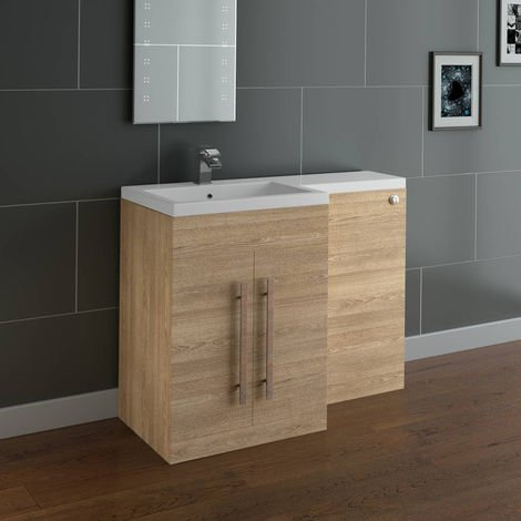 Light Oak Left Hand Bathroom Cabinet Furniture Combination Vanity Unit Set (No Toilet)