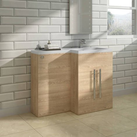 Light Oak Right Hand Bathroom Cabinet Furniture Combination Vanity Unit Set (No Toilet)
