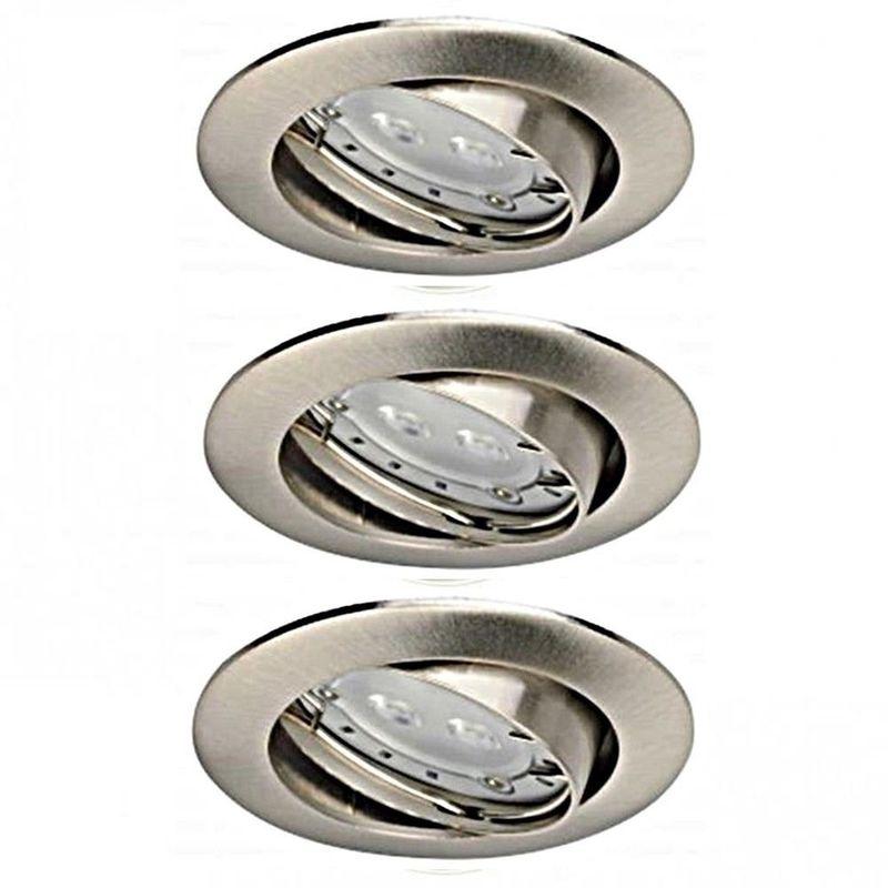 Light Topps 3 FARETTI DA INCASSO LED 3 X 1,8 W 104 lm GU10 IN FERRO SPAZZOLATO