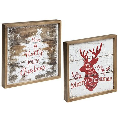 LIGHT UP CHRISTMAS DECORATION PLAQUES RED & WHITE DESIGNS
