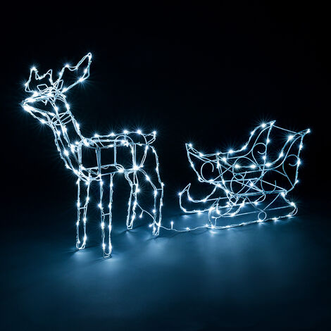 Light Up Wire Reindeer With Sleigh
