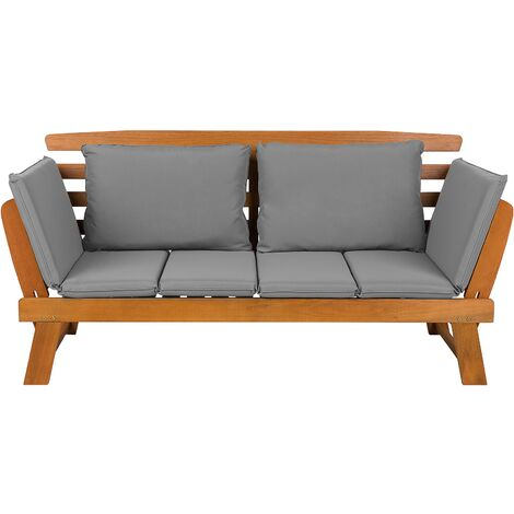 Light Wood Garden Bench Grey Cushions PORTICI