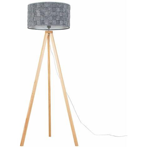 Light Wood Tripod Floor Lamp + Grey Felt Weave Light Shade + 6W LED Gls Bulb Warm White - Brown
