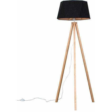 Light Wood Tripod Floor Lamp + Matt Black/Copper Geometric Shade - Add LED Bulb