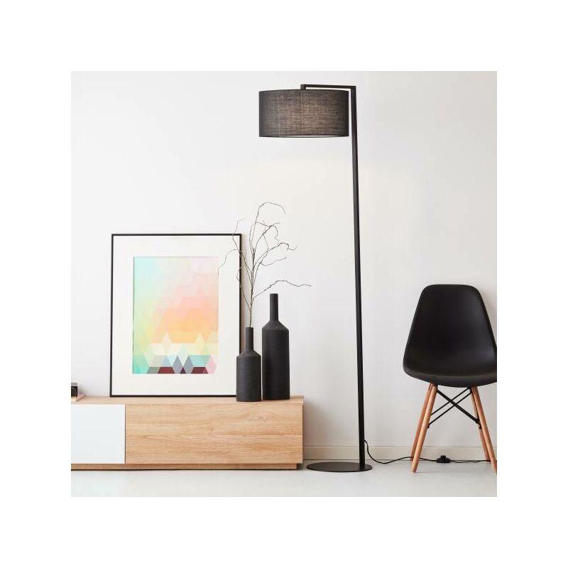 elegante Stehleuchte, 1,75 m, 1x E27 max. 25 Watt aus Metall / Textil in schwarz-'LB00001558' - Lightbox