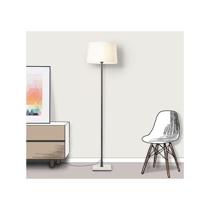 Stehlampe, klassische Stehleuchte mit Textilschirm, 1x E27 Fassung für max. 40 Watt - Metall/Textil, creme-weiß-'LB00001494' - Lightbox