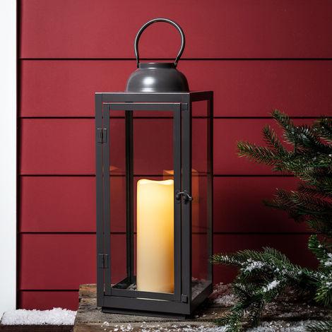 Lights4fun Grande Lanterne Noire en Métal avec Bougie LED à Piles  Intérieur/Extérieur 50,5cm